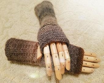 Wildling Knits Handmade Pair of Fingerless Gloves in Shades of Brown