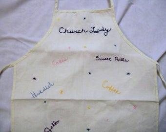 kitchen apron, full apron, apron with embroidery, church lady, unique gifts