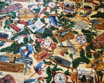 Vintage Fabric, Cranston Prints, Joan Messmore, Outdoor theme fabric, Camping, Hunting fishing