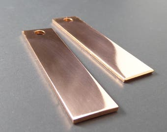 "10 Copper Blanks 1/2"" x 2"" Keychain 14 Gauge Polished Rectangle Stamping Blanks Pure Copper 5mm Hole - QTY 10"