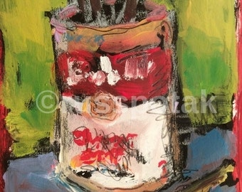 Soup can Small matted original acrylic painting, hand made, art  collectible, nostaligic vintage like, expressionist acrylic art, wall decor
