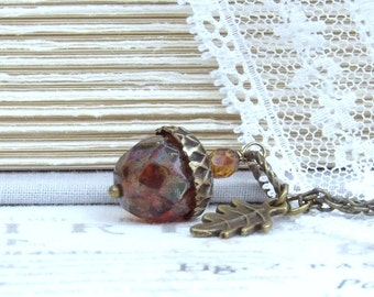 Burgundy Acorn Necklace Woodland Pendant Necklace Glass Acorn Necklace Autumn Jewelry Acorn Gift