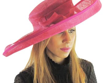 Fuchsia Pink Wide Upturned Hat for Kentucky Derby, Weddings Other Colours Too