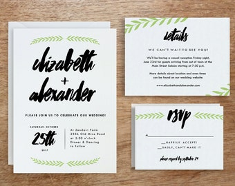 Printable Wedding Invitation Template | INSTANT DOWNLOAD | Laurel | DIY | Editable Adobe pdf | Response and Info Card Set