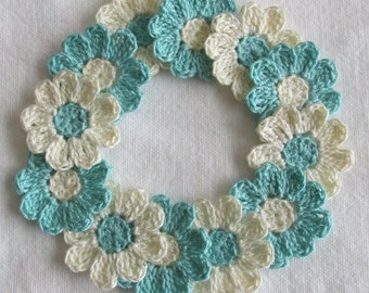 Flower Appliques for Scrapbooking or Sewing - Aqua and Cream, 12 Crochet Embellishments