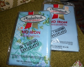 Vintage pillowcases in the package One Light Blue and Two light  blue floral
