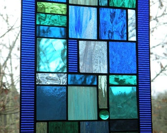 Cobalt Blue Stained Glass Window Panel