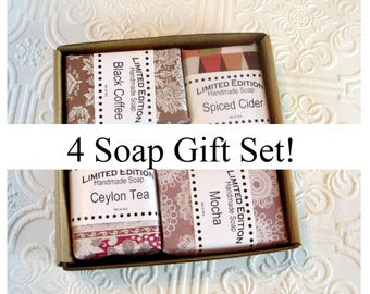 4 Soap Gift Set, Coffeehouse Collection, Shea butter enriched soap, Cider Soap, Mocha Soap, Tea Soap and Coffee Soap, Natural handmade soap