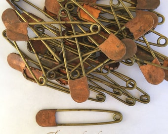 Large vintage brass and copper pins