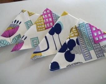 Cloth Napkin Set of 4 Modern Cityscape Mid Century Modern