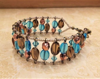 Aqua and Brown Czech Glass Cuff Bracelet, Beach Bracelet, Summer Bracelet, Aqua Bracelet, Brown Glass, Blue and Brown, Bohemian Bracelet