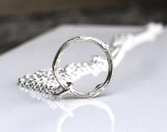Silver Twig Necklace, Twig Circle Necklace, Silver branch Necklace, Silver Eternity Necklace, Sterling Silver Twig Necklace, Claire Pearse
