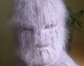 Hairy Mohair sweater Balaclava eyes and mouth opening  hand knitted  by uniquemohair your choice