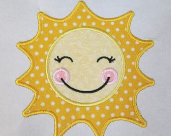 Happy Sun - Sunshine Fabric Embroidered Iron On or Sew On Applique -- Quick Ship in 3 Business Days