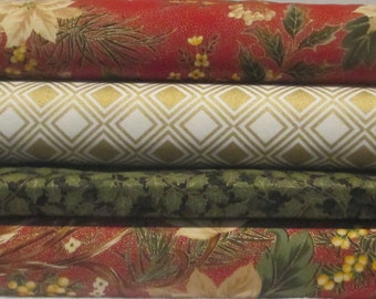 Red Green Cream Metallic Christmas Fabric - Half Yard Bundle - Moda - Let it Glow