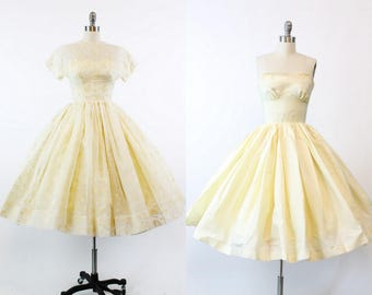 50s Dress Flocked Organza XXS / 1950s Vintage Wedding Dress Two Piece / Fantasia Dress