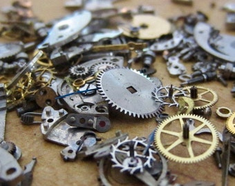 Vintage WATCH PARTS gears - Steampunk parts - b35 Listing is for all the watch parts seen in photos
