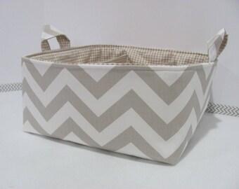 "SALE Diaper Caddy - Fabric Storage Basket - 11""x11"" Organizer Bin - Storage box - Diaper Bag - Baby Gift - Nursery Decor - Tan Chevron - RTS"