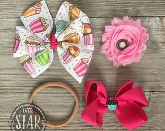 Cupcake Hair Bow Gift Set - Cup Cake Hair Bows - Birthday Hair Bow - Baby Shower Gift - Hair Bow Gift Set - Stocking Stuffer - Baby Hair Bow