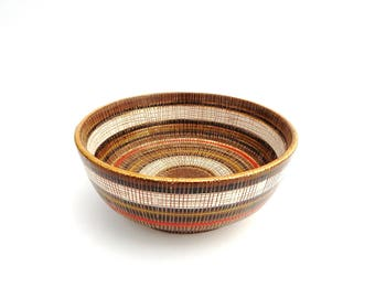 Aldo Londi Bitossi Seta Sgraffito Red Black Brown White Gold Striped Vintage Bowl