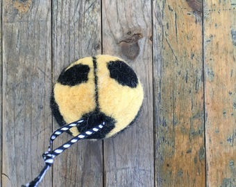 Yellow Ladybug Beetle, Felted Wool Toy Ball or Sculpture , Mini