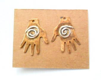 Spiral Healing Hands Brass & Sterling Findings Pair