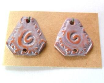 Verbena Stoneware Glazed Terra Cotta Drop Bead Findings Pair