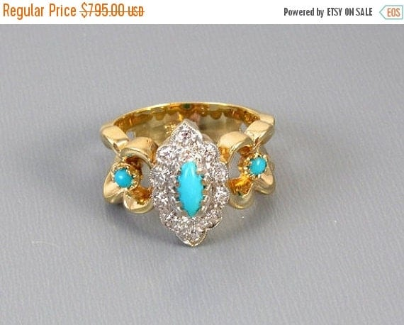 Holiday Sale Vintage estate 14k yellow and white gold diamond and Persian blue turquoise ring size 5-1/2