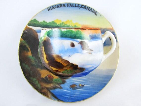 Vintage hand painted Nigara Falls Canada / souvenir / demitasse cup and saucer / porcelain / china / bone china / tea / coffee