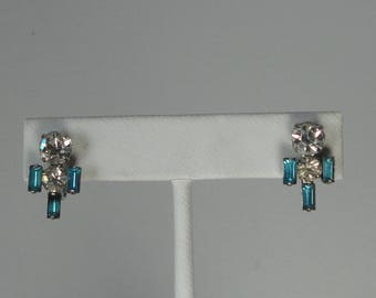 Vintage Silver tone with Aqua Blue Baguettes  and Clear Rhinestones Earrings.