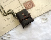 The Hidden Garden - Miniature Wearable Book, Brown Recycled Leather, Deep Green Pages - OOAK