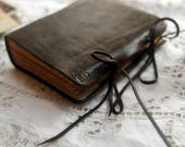 RESERVED for Gwen -  Observations #1 - Dark Brown Leather Journal, Tea Stained Pages - OOAK