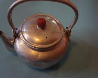 Vintage Aluminum Made in Japan Tea Pot with Red Bakelite? Knob  Seep and Serve  Shabby Chic  Kitschy  Kitchen  Cup of Tea