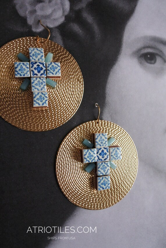 Portugal Blue Antique Azulejo Tile Replica CROSS DISC Earrings from Ovar (see photo of actual facade) Gift Box Included - Ships from USA