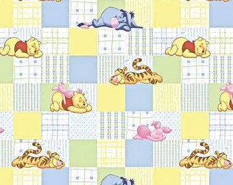 Dollhouse Miniature Small Scale Computer Printed Fabric Pooh Patchwork Quilt