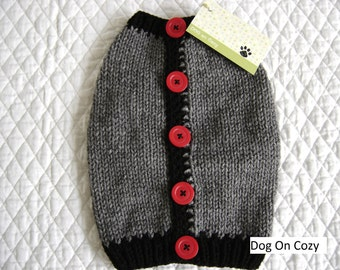 Dog Sweater Vest - XSMALL - with Buttons Up Back - Gray