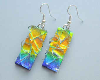 Blue Green Earrings - Dichroic Fused Glass Earrings - Bohemian Earrings - Boho - Dichroic Earrings - Dichroic Jewelry - Cute Earrings X4125