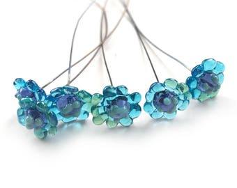 NEW Posie Lampwork Headpins, Flower Headpins, Daisy Lampwork Head Pins, Blue Lampwork Pins, Set of 6 by Dry Gulch, Penelope Clear Water #501