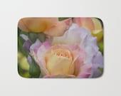 Pastel roses bath mat, floral bath mat, pink apricot bath decor, flower bathroom carpet,rose bath rug, bath furnishing, rose bathroom decor