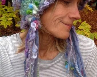 RESERVED - hand knit slouchy hat puffy curls soft art yarn fairy fantasy hat -  softest daydream hat