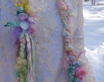 hand knit soft art yarn long gypsy flower scarf - soft spring party scarf