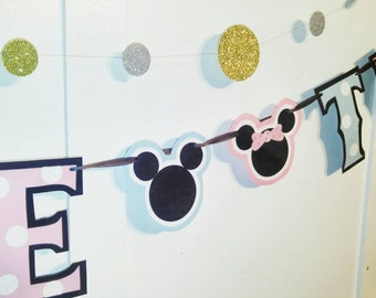 TWINS Baby Shower Banner, Mickey and Minnie Mouse Baby Shower, Baby Minnie Shower, Baby Mickey Shower Decor, Baby Minnie and Mickey Mouse