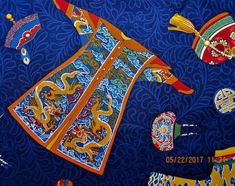 ASIAN FABRIC Empress Alexander Henry Dark NAVY Blue - 1998 Rare 1 Yard - #A22