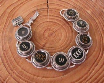 Typewriter Key Jewelry - Unique Authentic 8- Key Black Typewriter Key Bracelet - Mix of Hard to Find 10, 100 & 1000 Thousand Keys