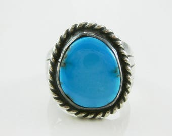 Ring, Size 10,  Mens, Navajo, Blue Turquoise Ring, Wired Boarder Ring Southwestern Jewelry, Large Silver Ring