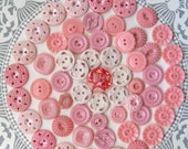 60 Vintage Buttons, Button lot, Pink Buttons, Filigree Buttons, Plastic buttons, Button supply