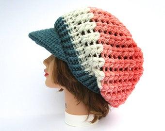 Crochet Visor Hat In Pegasus - Slouchy Hat with Brim - Brimmed Beanie - Puff Stitch Hat - Women's Cap - Blue, White, Pink Hat