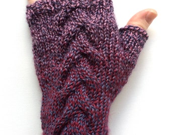 Pinot Noir Gloves for Women, Teen Girls, Texting Gloves, Fingerless Gloves, one of a kind, cable pattern, purple and red wool gloves