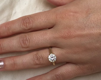 Charles and Colvard Forever One Moissanite Cutom Made 14k Yellow Gold Vintage Style Ring