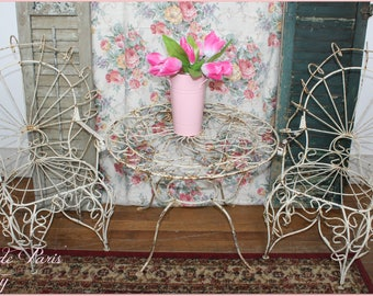 Adorable vintage French garden table and chairs  childs set ~ Victorian patio set ~ So cute for a garden!